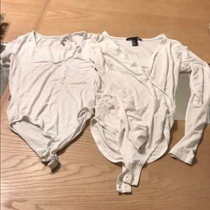 Tops - Women's short and long sleeve white  bodysuits